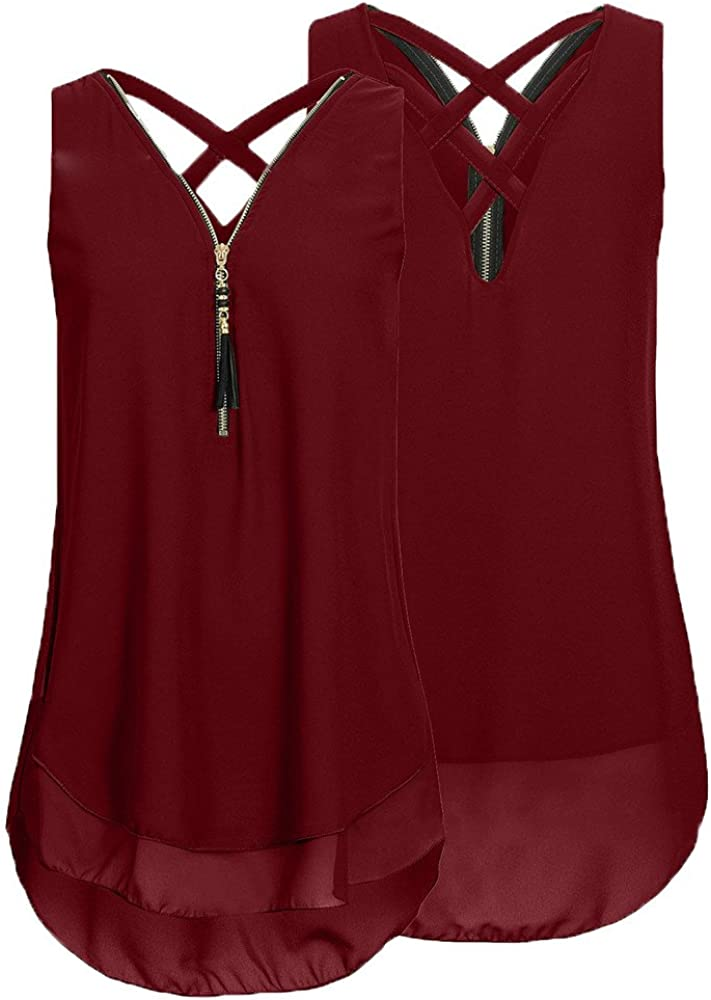 FABIURT Tank Tops for Women,Womens Summer Spaghetti Strap Cropped Tee Solid Color Criss Cross Tunic Workout Basic Shirts