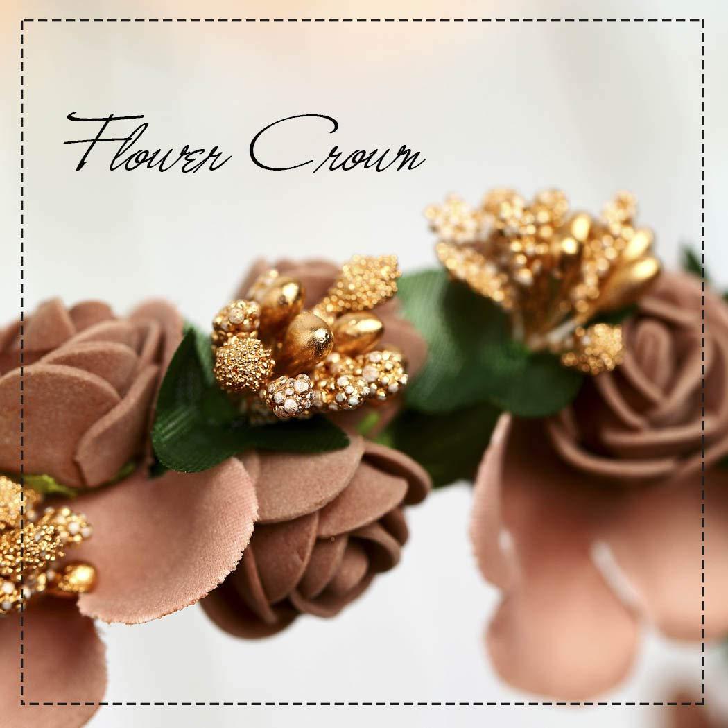 Aukmla First Holy Communion Head Wreath Flower Crown Wreath Wedding Flower Crown Veil Bridal Headpiece Adjustable Wedding Festival Party for Women and Girls