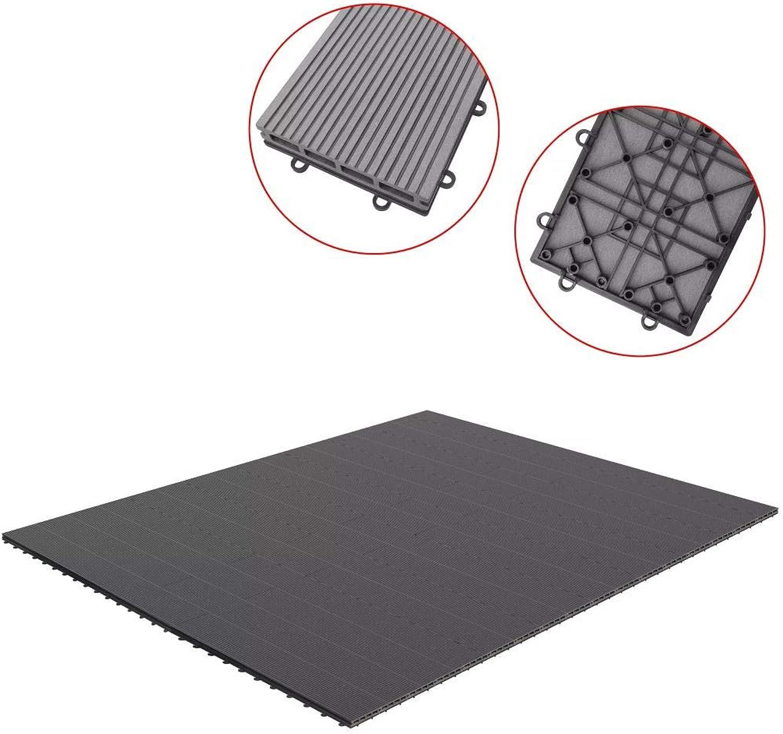 Festnight 34 Pcs Decking Boards WPC Tiles for Patio Balcony Bathroom Garden  Grey WPC, 255x210x2.6 cm