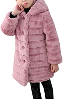 Girl's Long Warm Faux Fur Coat Thicken Fake Fox Hooded Front Button Jacket