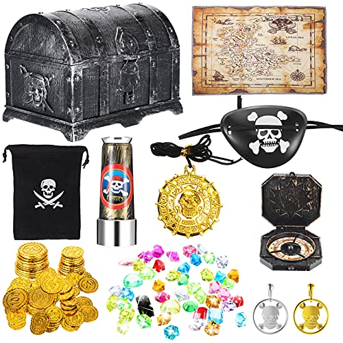 73 Pieces Pirate Treasure Chest Toy Set Vintage Pirate Pretend Toys Include Treasure Chest Pirate Eye Patch Gold Earring Gold Coin Gems Plastic Toy Compass Pirate Map for Halloween Cosplay Party