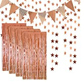 Rose Gold Foil Fringe Metallic Tinsel Curtains Photo Backdrop Set,Flag Bunting Banner,Glitter Paper Star Shape Garland for Birthday Wedding Bachelorette Party Photo Backdrop Door Wall Decorations