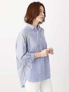 (ホワイト?ザ?スーツカンパニー) コットンブレンド ロンドンストライプ柄チュニックシャツ ブルー×ホワイト(白柄コード:35)