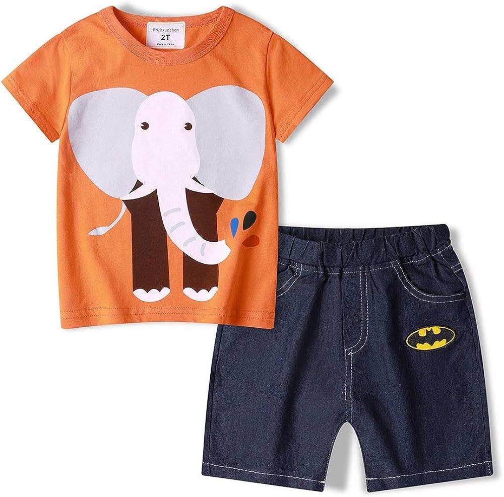 Fruitsunchen Little Boys 2 Pcs Short Sets Cotton Dinosaur T-Shirt & Shorts Outfit Set