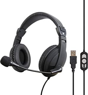 VCOM USB Headset with Microphone - Wired Over Ear Computer Headphones, Stereo PC Headset with Volume Control & Mute Button...