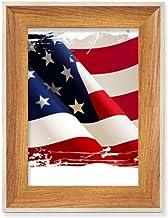 Escovação de ar Estrelas e Listras Bandeira dos Estados Unidos Desktop Moldura de madeira Moldura de foto para exibição de...