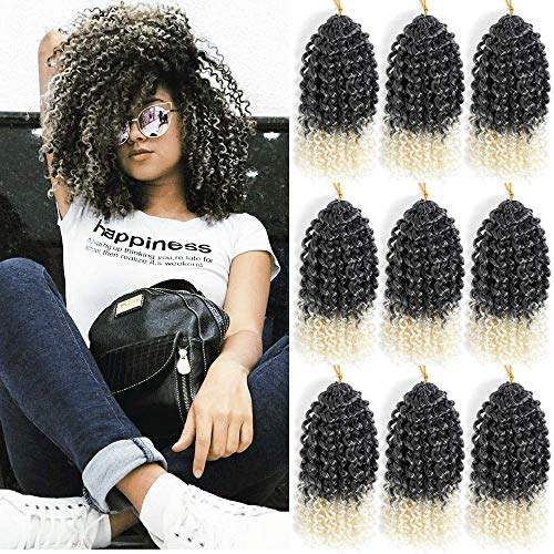 Marlybob Synthetic Crochet Braiding Hair curly Crochet Hair Braids Kinky Curl Hair Bundles for Black Women 9 Packs/lot Ombre Marlybob Crochet Hair 8 Inch (1B/613#)
