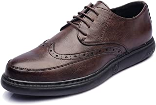 DIEBELLAU Men's PU Leather Shoes Lace Up Loafers Classic Carved Design Outsole Oxfords Men's Shoes