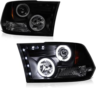 [For 2009-2018 Dodge RAM 1500 2500 3500] CCFL Halo Ring Black Smoke Projector Headlight Headlamp Assembly, Driver & Passenger Side