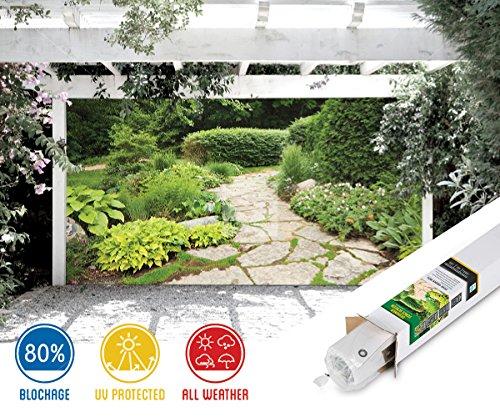 Garden with Stone Path - 7ft x 9ft Decorative Gazebo, Patio & Garage Door Backdrop Screen