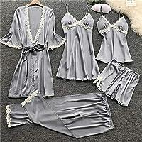 SDCVRE Winter bathrobe,Women Pajamas Sets Satin Sleepwear Silk 4 Pieces Nightwear Pyjama Spaghetti Strap Lace Sleep Lounge Pijama With Chest Pads,D,XL