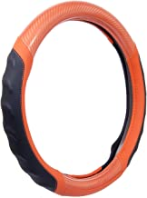 Motor Trend SW-812 Ultra Sport Pebbled Leather Steering Wheel Cover with Carbon Fiber Detail - Universal Fit for Standard Sizes 14.5 15 15.5 inches (Orange + Black)