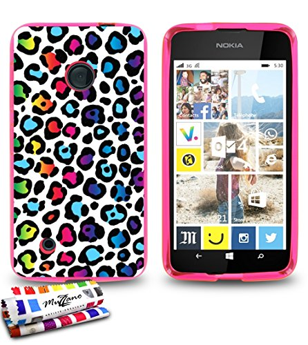 weiche Schutzhülle schmal Nokia Lumia 530dünn, Motiv Exklusives [Leopard Rainbow] [Rosa] von MUZZANO + Eingabestift und Reinigungstuch Muzzano® angeboten–Der Schutz kratzfest ultimative, elegante und nachhaltige für Ihr Nokia Lumia 530