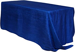 Your Chair Covers - 90 x 156 inch Rectangular Crinkle Taffeta Tablecloth - Royal Blue, Rectangle Table Linens for 6 ft Rec...