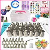 RFAQK- 90 PCs Russian piping tips set with storage case - Cake decorating supplies kit - 28 Numbered easy to use icing nozzles (28 Russian + 24 Icing + 1 Ball tip+1 leaf tip) - Pattern chart & E Book