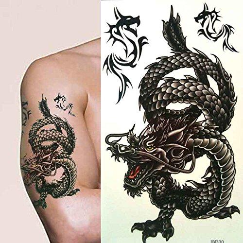 Temporäres Tattoo chinesischer Drache Groß Schwarz künstlerisch für Herren oder Jungen