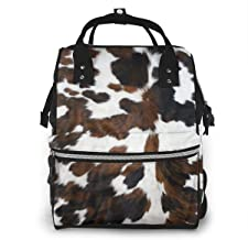 Cowhide Tan, Black and White Texture Diaper Bag Backpack Maternity Baby Nappy Changing Bags Shoulder Bag Organizer Multi-Function Travel Backpack