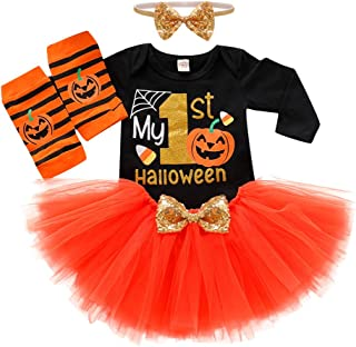Baby Girl 's Halloween Romper, Infan Cotton Long Sleeve Letter Tulle Skirts Bodysuit Outfits with Hair Band