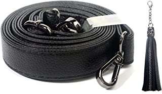 Purse Strap Replacement - Adjustable Grain Leather for Crossbody Bag or Handbag - 30 Inch- 55 Inch Long, 0.8 Inch Wide, Black Gunmetal Clasp, Black, by Beaulegan