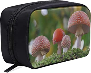 Group Of Mushrooms In The Forest Portable Travel Makeup Cosmetic Bags Organizer Multifunction Case Small Toiletry Bags For Women And Men Brushes Case