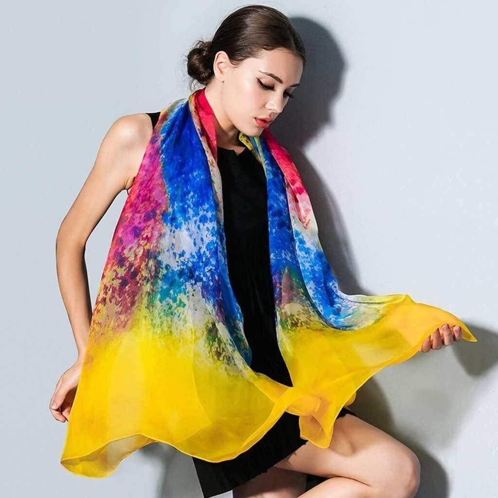 YIWANGO Silk Women's Silk Autumn and Winter Outdoor Travel Silk Scarf Winter Shawl Dual-use Women's Autumn and Winter Scarf