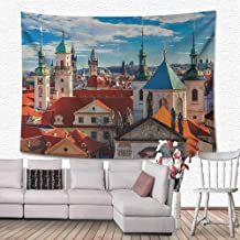 Wanderlust Decor Collection Tapestry Home Decorations Domes of Churches Bell Tower of The Old Town Hall Powder Tower Czech Republic Photography Print Bedroom Home Decor 59