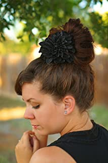 ffed6d05 Midnight Black Dahlia Wedding Veil Flower Hair Clip Bridal Special Occasion Bridesmaid  Fascinator