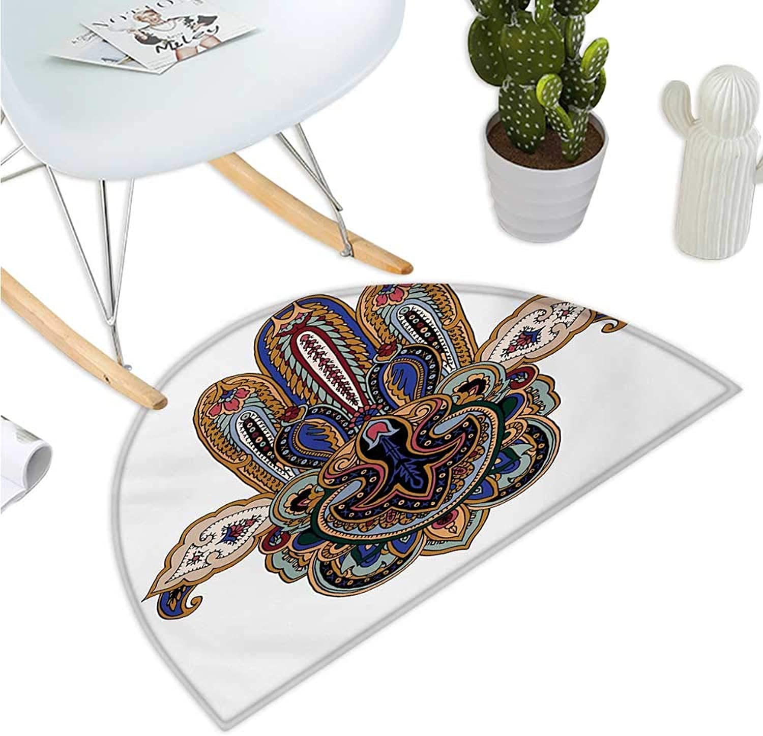 Hamsa Semicircular Cushion Eastern Asian Traditional Symbol Ancient Cultures Amulet Design with Paisley Motifs Entry Door Mat H 47.2  xD 70.8  Multicolor