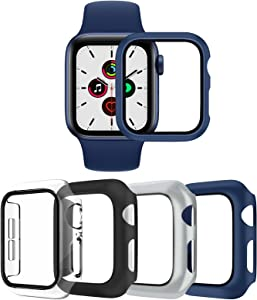 4 Pack Hard Cases for Apple Watch SE Series 6 Series 5 Series 4, Full Coverage Bumper with Ultra-Thin Scratch Resistant HD Tempered Glass Screen Protector Compatible with iWatch 40mm