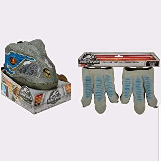 New Jurassic World Velociraptor Blue Chomp N Roar Mask Open Jaw Slowly and It Growls and Then Hisses Ages 6+ & Velociraptor Blue Claws One Size Fits Most! Ages 3+ New