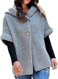 Alangbudu Women Kinnted Split Hooded Tops Button Up Blouse Pullover Half Sleeve Sweater Crochet Casual Batwing Outwear
