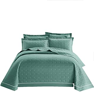 JANRON Cotton Quilted Bedspread Super King Size 3 Piece Square Embroidery Printed Comforter Reversible Patchwork Quilt Bed Throw Sets with 2 Pillowcase - 245X250CM(96.4X98.4INCH)