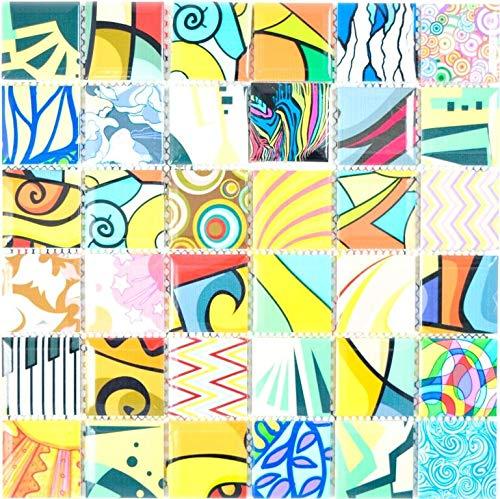 Bunte Retro Style Mosaikfliesen POP UP ART Design Wandverkleidung Fliesenspiegel