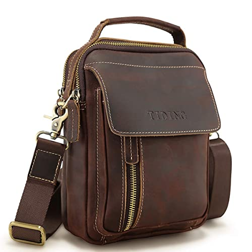 cd3faa53e0 Tiding Vintage Men s Small Crazy Horse Leather Shoulder Bag Crossbody  Satchel Messenger Bag Travel Bag for