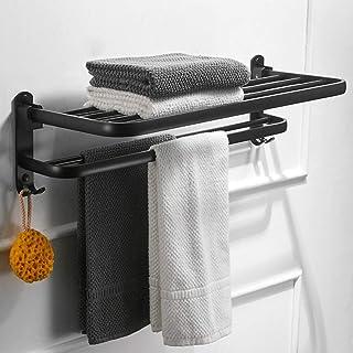 B&T life Bathroom Double Towel Rack,Towel Shelf with Two Towel Bars and Hooks Design,24-inch Wall-Mounted Bath Towel Racks,No Rust,High Strength Aluminum Alloy Matte Black