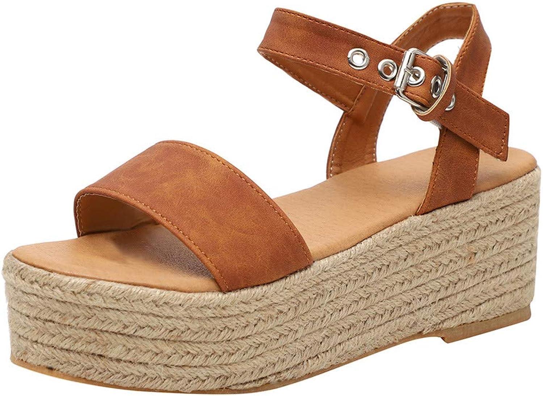 Philohewen Women's Strap Ankle Buckle Platform Wedges Woven Sandals Roman shoes