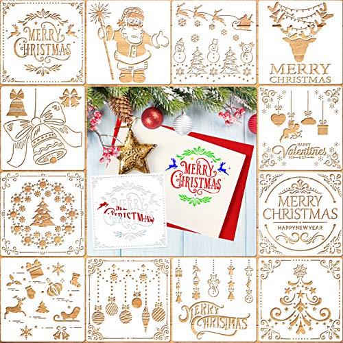 Qpout 12 Stück weihnachtsschablonen, Zeichenschablonen Malschablonen aus Kunststoff, Stencil Schablonen Wiederverwendbar für Scrapbooking Fotoalbum, DIY Geschenkkarten, Geschenke Weihnachten Kinder