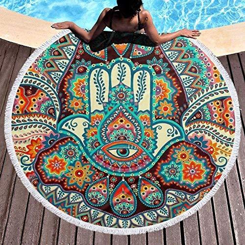 Toalla De Playa Redonda Mano De Hamsa De Fatima India Manta Circular Gruesa De Microfibra para Nadar para Viajes Al Aire Libre, Estera De Picnic para Yoga, Mantel De Tapiz con Flecos De Borla, Suave