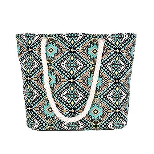 Minetom Damen STREIFEN Strandtasche Geometrie Shopper Schultertasche viele Farben GreenC