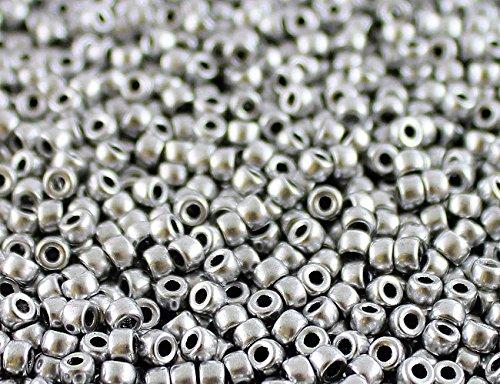 Matubo - 10gr (env. 220 pcs) Tchèque pressé perles de verre, Perles de rocaille 7/0 (3.5mm) Couleur: Crystal Bronze Aluminum (Silver Matte)