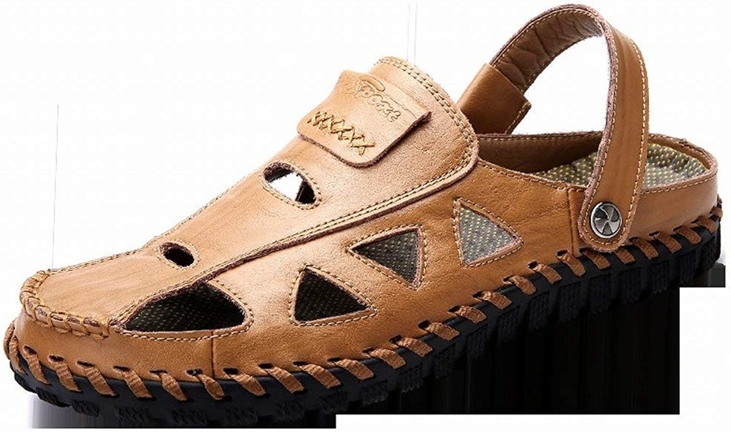 Fuxitoggo Fashion Handsewn Sandals Soft Leather Casual Men's shoes Men's shoes (color   Yellow, Size   39)