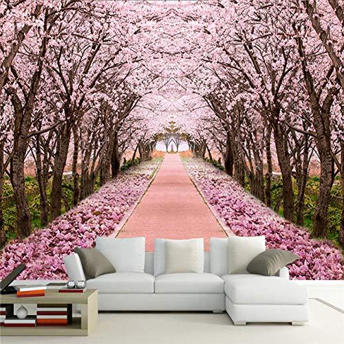 Benutzerdefinierte Fototapete 3D romantische Kirschbaum Wandbild Wohnzimmer TV Sofa Hintergrund Wandmalerei Wandbild