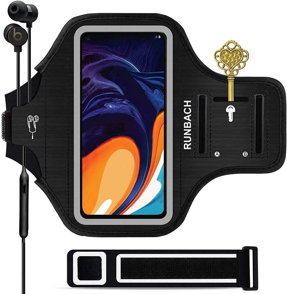 RUNBACH Running Armband for Samsung Galaxy A60/A51/A50/A32/A30/A20/A10E/A10/A9/A9 Pro/M11/M21/M31,Sweatproof Running Exercise Bag for Samsung Phone(Black)