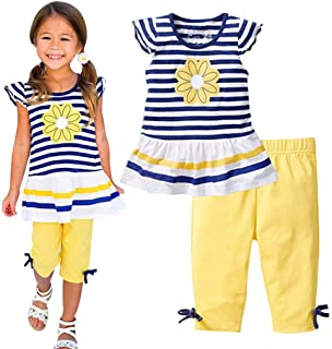 Baby Girl Summer Casual Clothing Suit Short Sleeve Striped T-Shirt +Pants