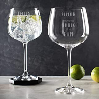 Gin to My tonic Pair of Glasses - Wedding Gifts for the Couple - His and Hers Gifts - Engraved Glass Goblets Set of 2