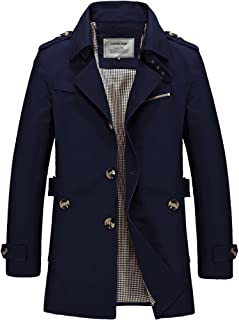 DAVID.ANN Men's Windbreaker Notch Lapel Single Breasted Coat