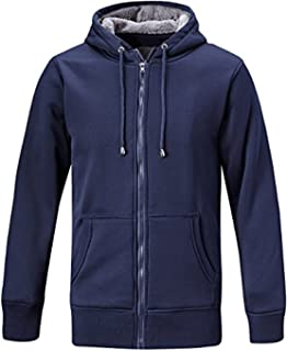 ZITY Mens Active Fleece With Hoodie Full Zip Heavyweight Sweatshirt