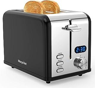 Morpilot Grille Pain Noir et Inox Toaster Grilles Pain 2 Fentes Larges avec Chauffe Viennoiserie, Affichage LED, 6 Niveaux...