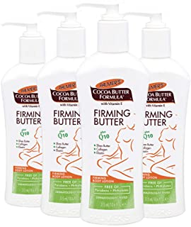 Palmer's Cocoa Butter Formula with Vitamin E + Q10 Firming Butter Body Lotion  |  Made with Shea Butter, Collagen, Elastin  |  Free of Parabens & Phthalates  |  Pump Bottle 10.6 fl. oz. (Pack of 4)