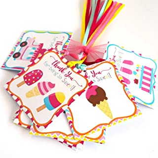 Ice Cream Thank You Favor Tags - Girl Kids Children Birthday Baby Shower Party Gift Tags - Set of 12